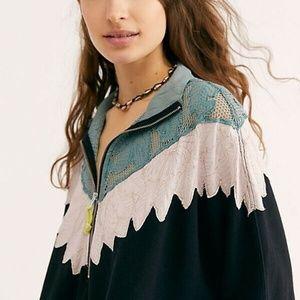 NEW Free People Isla Pullover Jacket Floral Black